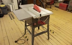 table saw in the woodshop