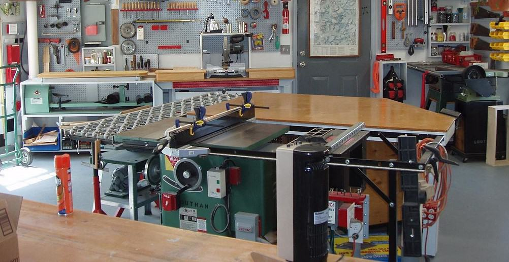 wood shop with miter saw and lathe stand
