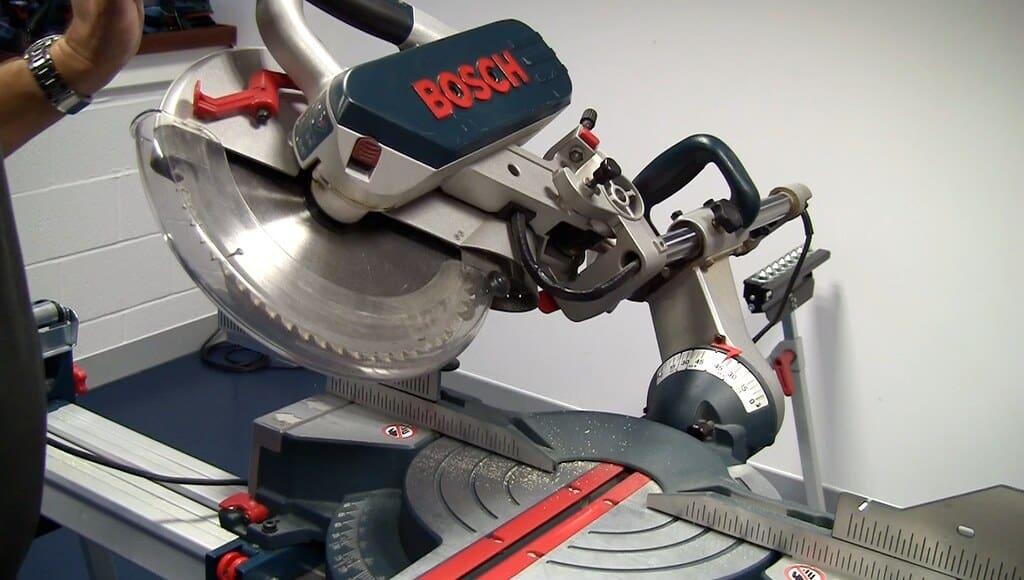 Up-close action shots of the Bosch GCM12SD circular saw