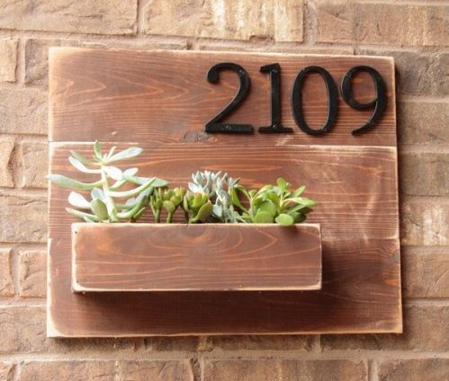 house number wall planter