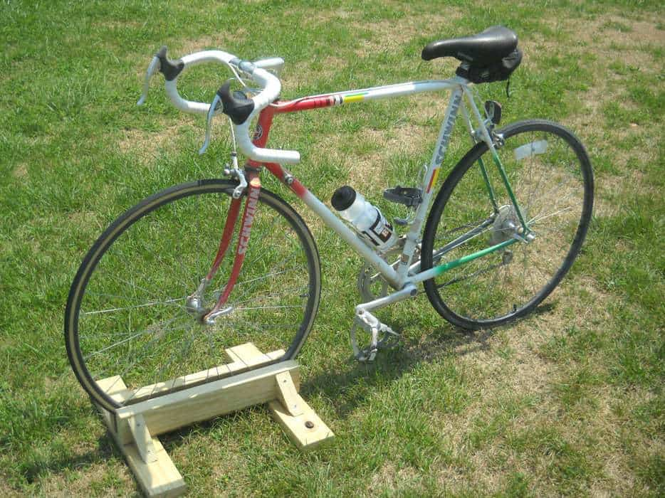 bike and wooden bike stand