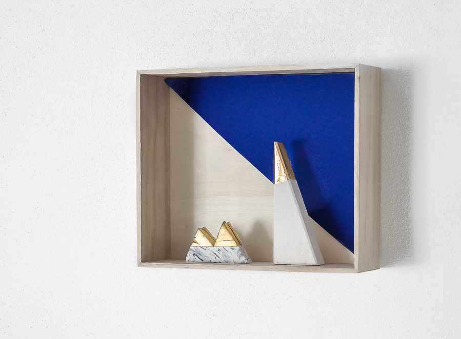 blue wooden shelf