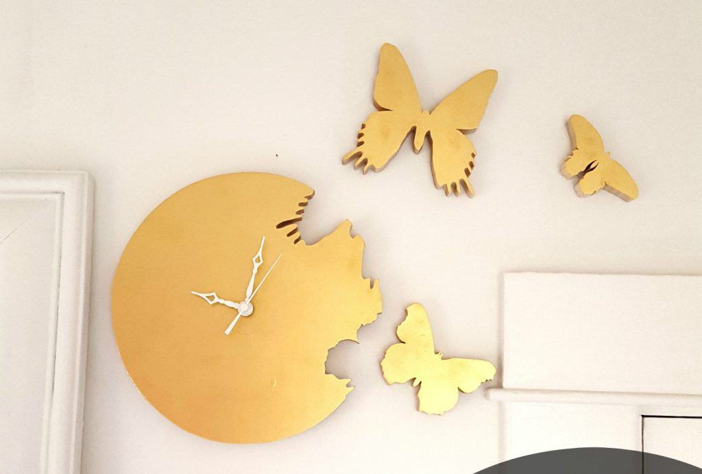 butterfly cutout clock