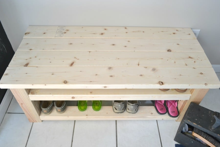 mudroom bench and shoe storage